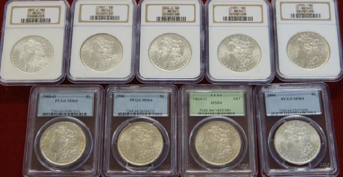 9 Assorted Morgan Silver dollars