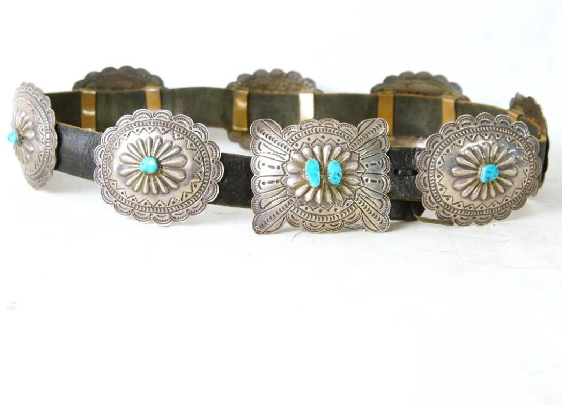 """R. Begay Turquoise and silver concho belt - 36"""""""