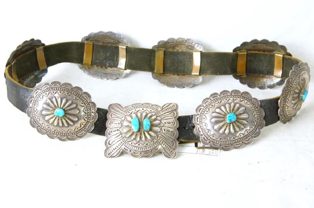 "R. Begay Turquoise and silver concho belt - 36"" - 2"