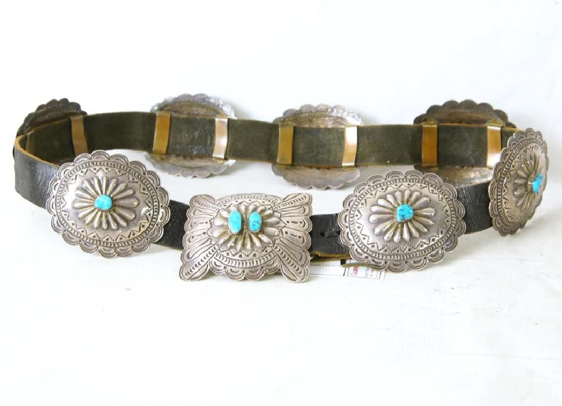 "R. Begay Turquoise and silver concho belt - 36"" - 3"