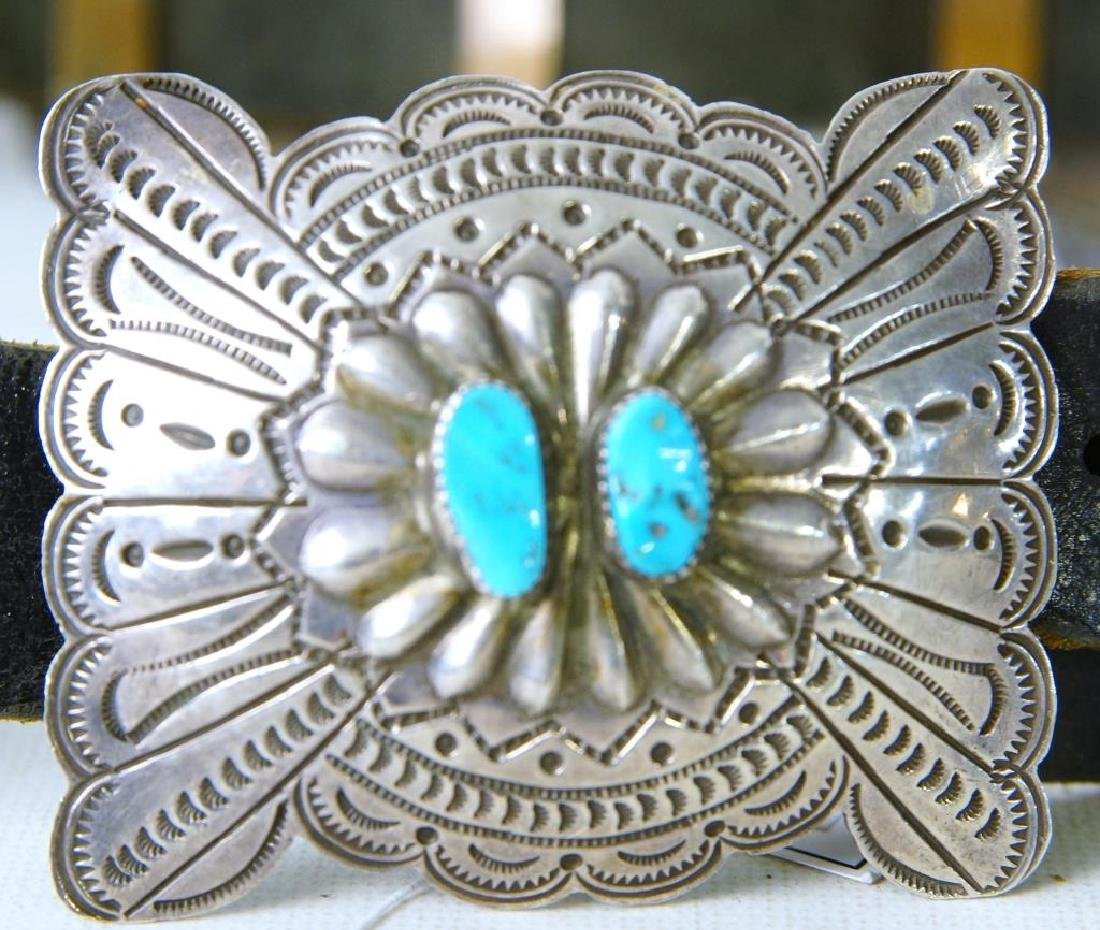 "R. Begay Turquoise and silver concho belt - 36"" - 4"