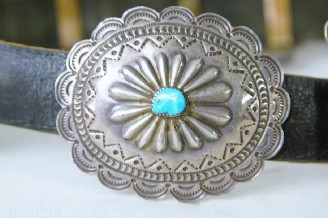 "R. Begay Turquoise and silver concho belt - 36"" - 5"