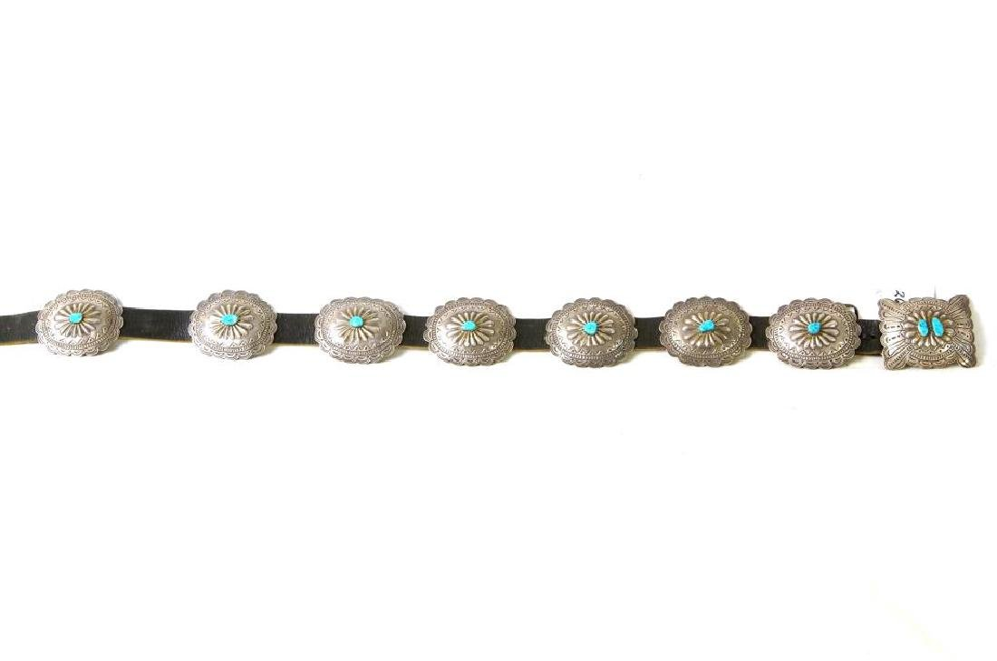 """R. Begay Turquoise and silver concho belt - 36"""" - 6"""