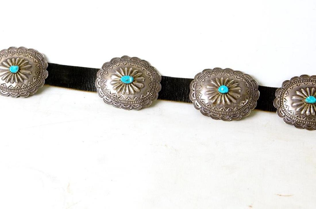 """R. Begay Turquoise and silver concho belt - 36"""" - 9"""