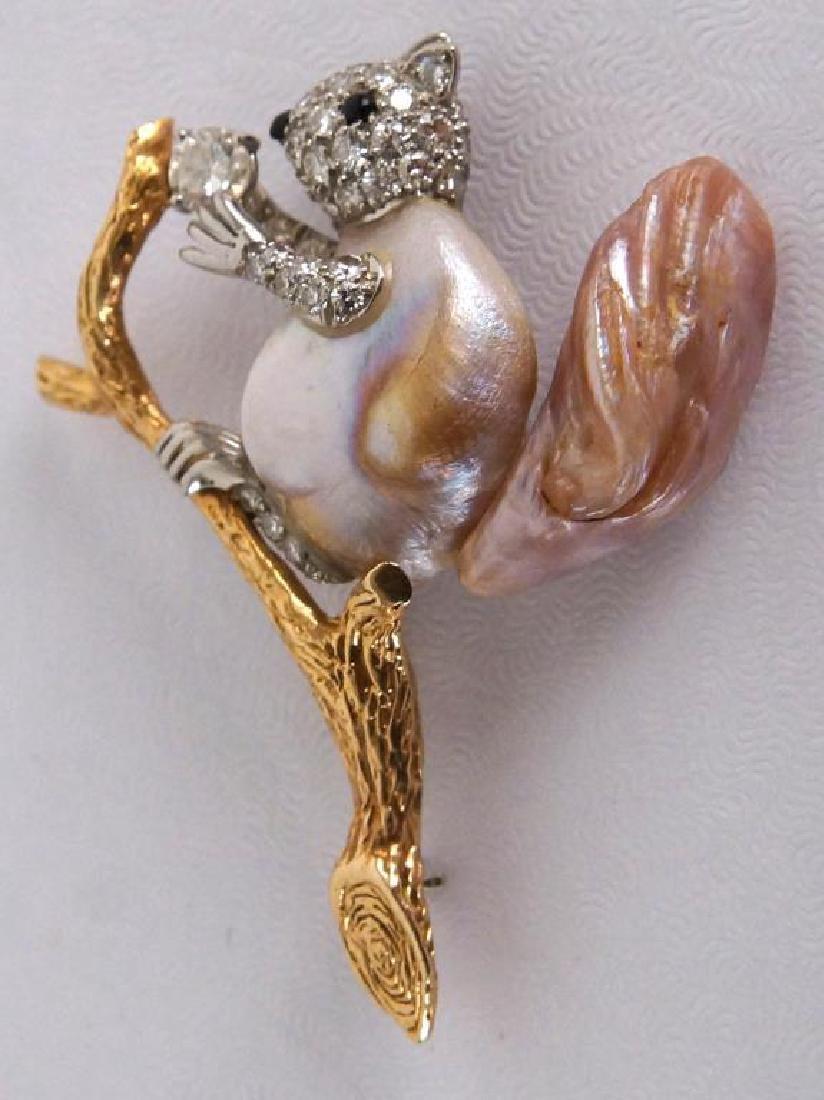 W. Ruser 14kt Gold Pearl & Diamond Squirrel pin - 2