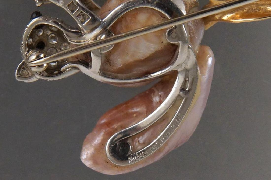 W. Ruser 14kt Gold Pearl & Diamond Squirrel pin - 4