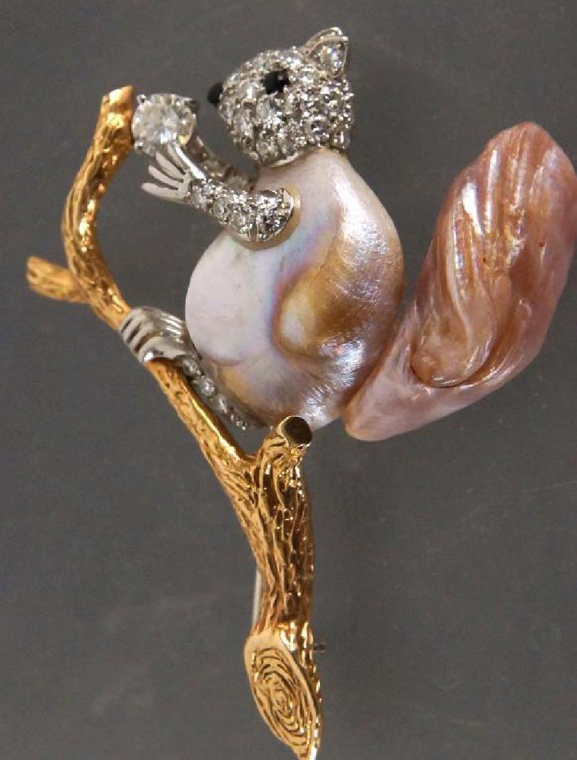 W. Ruser 14kt Gold Pearl & Diamond Squirrel pin - 7
