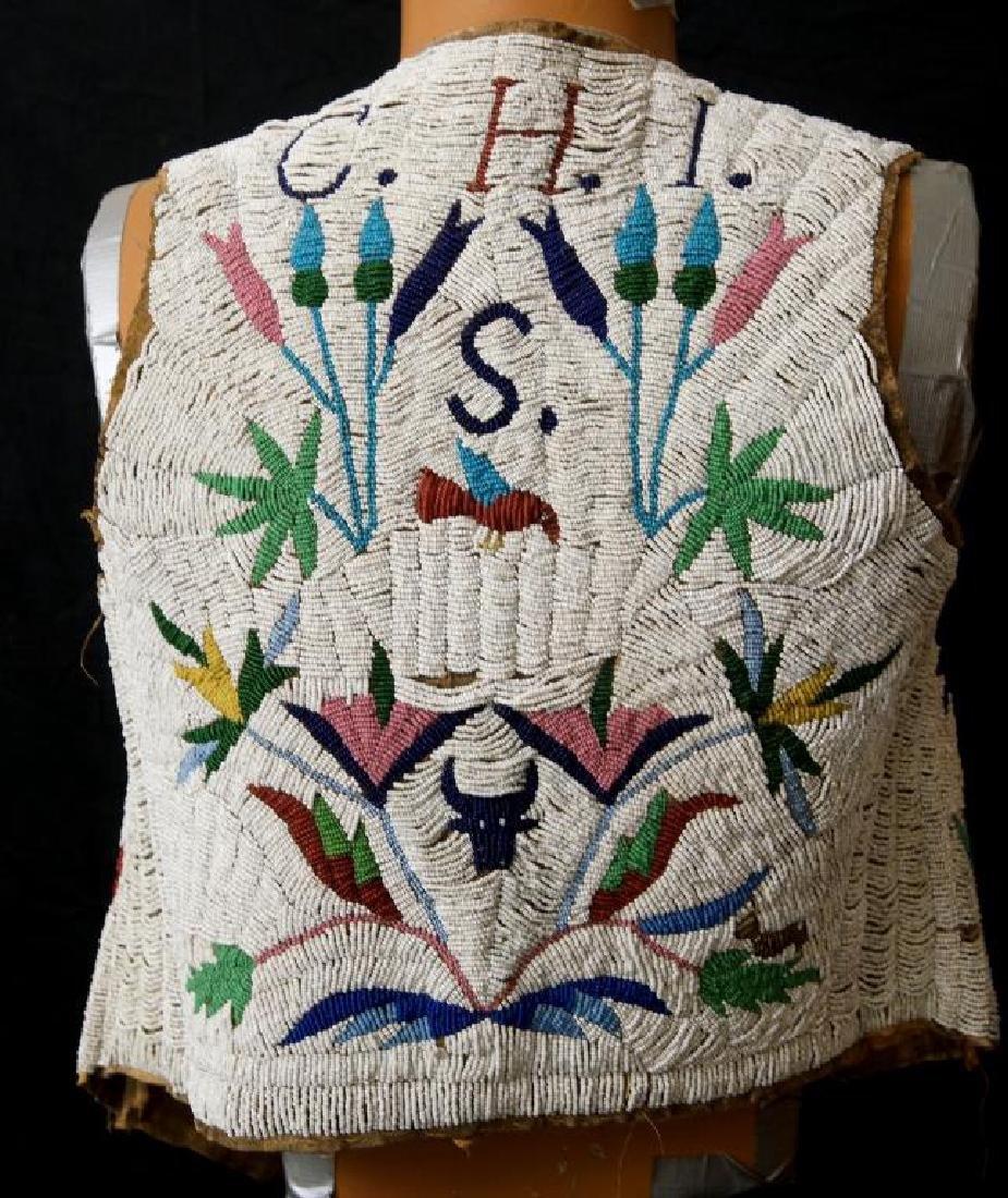 Santee Sioux beaded vest w Deer circa 1890 - 10