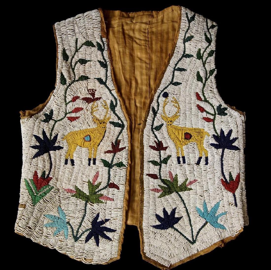 Santee Sioux beaded vest w Deer circa 1890
