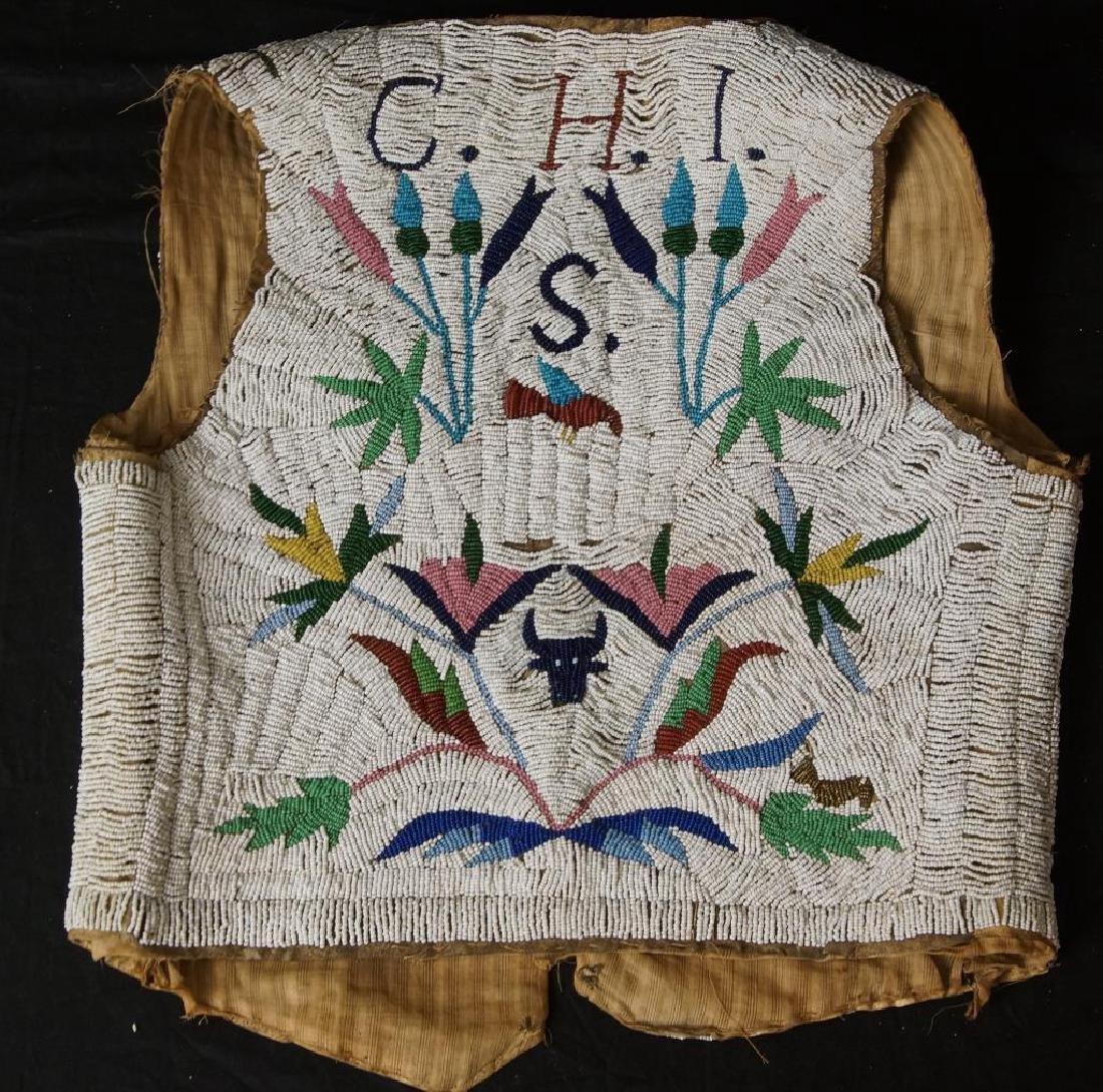 Santee Sioux beaded vest w Deer circa 1890 - 2