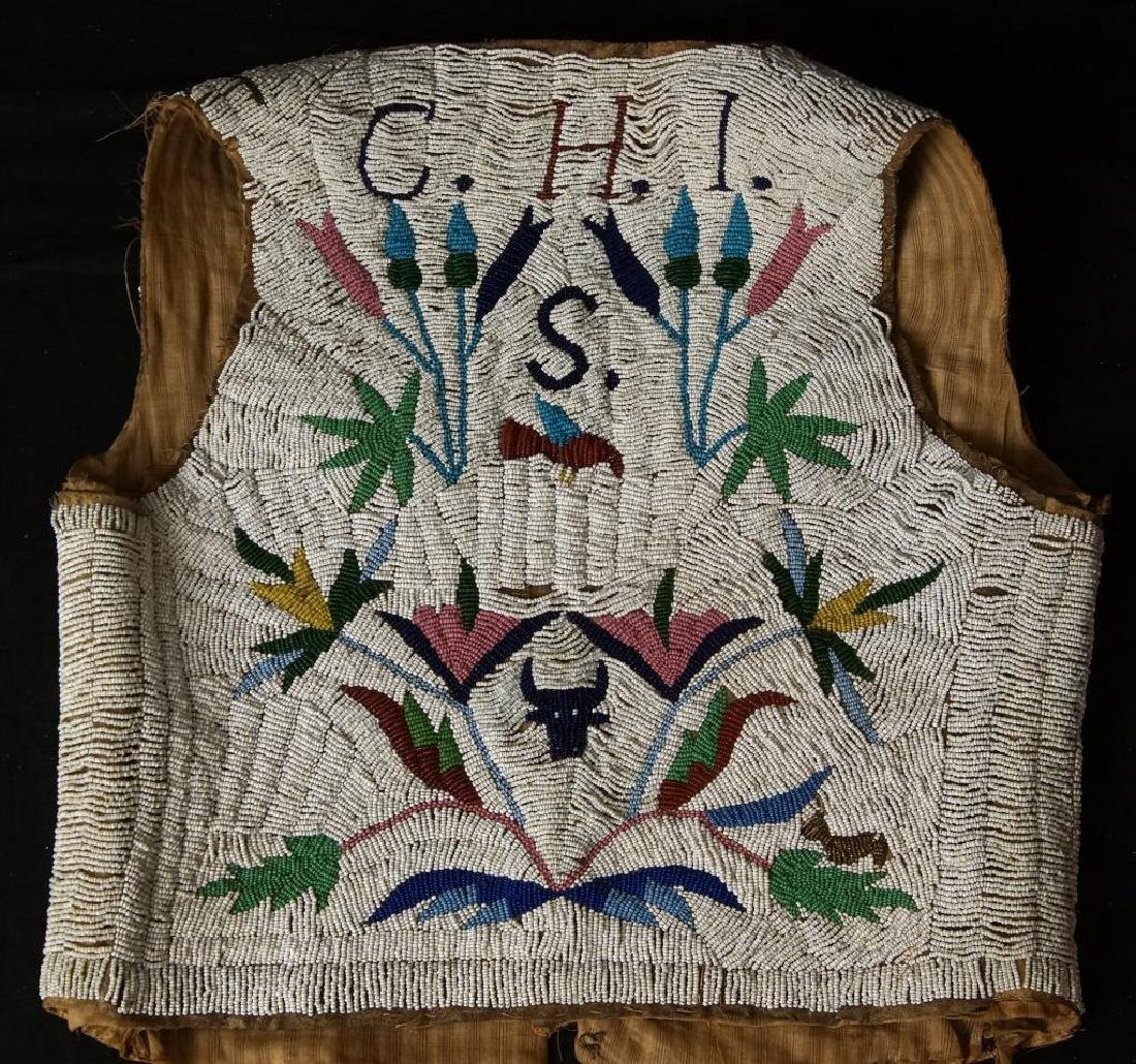 Santee Sioux beaded vest w Deer circa 1890 - 3