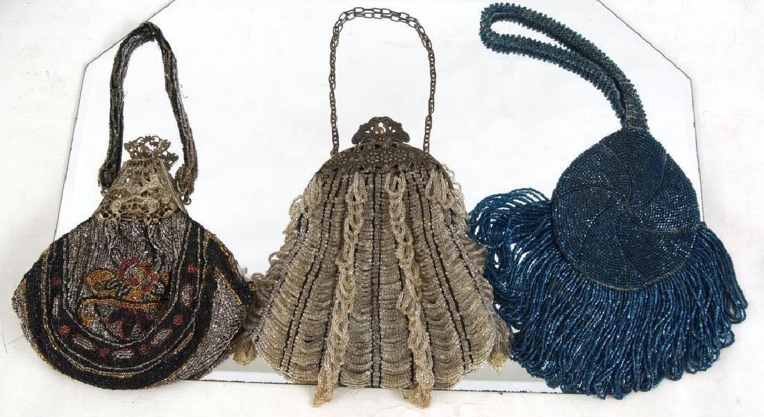 Three Fancy antique beaded purses