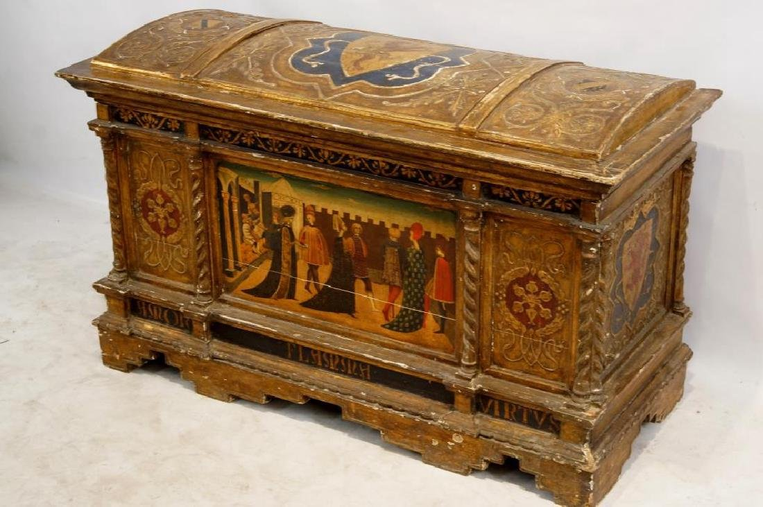 An Antique Gilt painted Italian cassone - 2