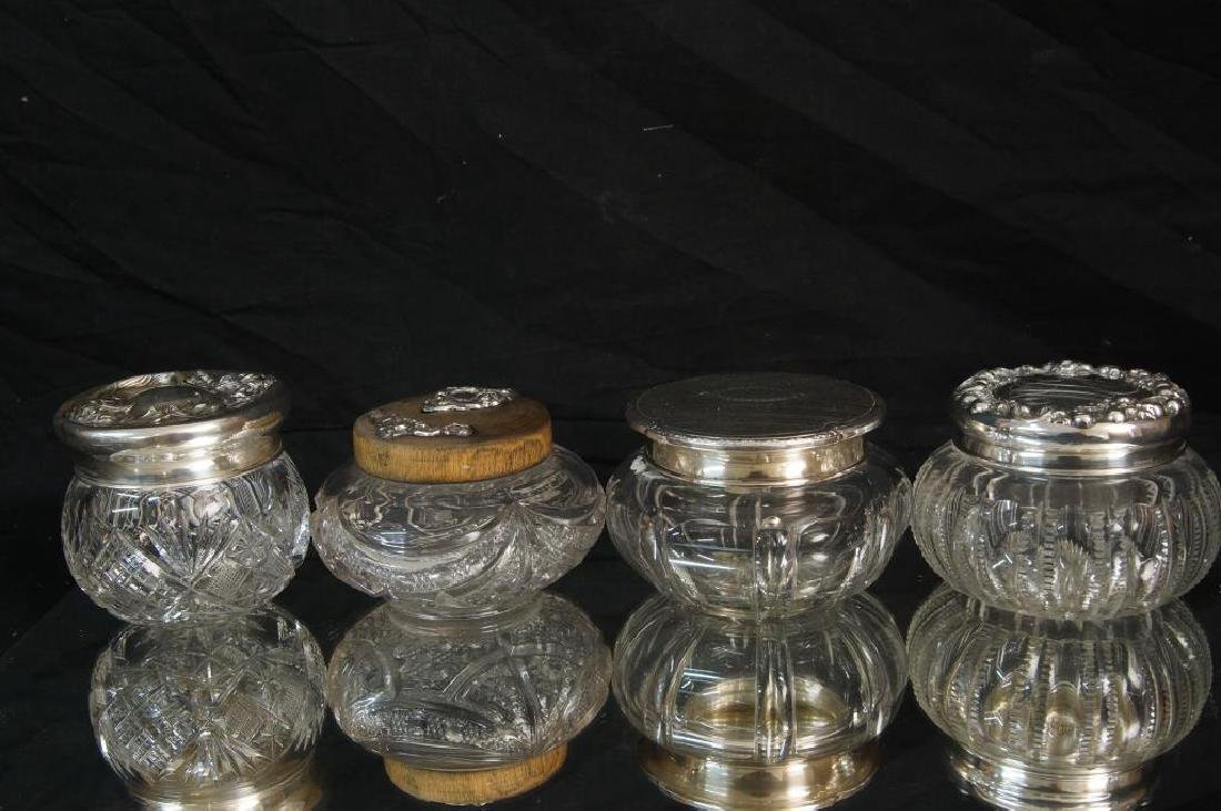 Sterling and crystal glass dresser pcs - 2