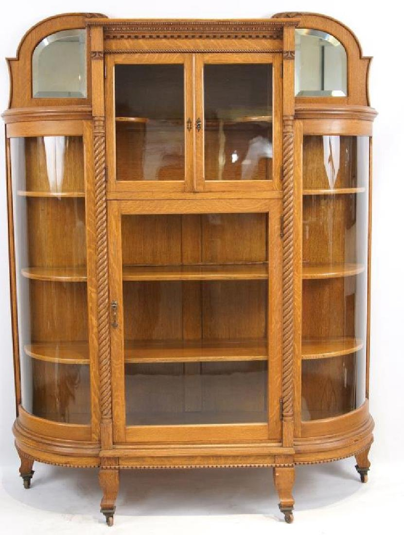 American Tiger Oak curved glass china cabinet