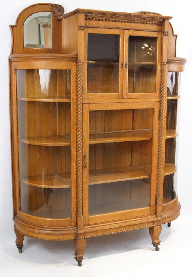American Tiger Oak curved glass china cabinet - 2