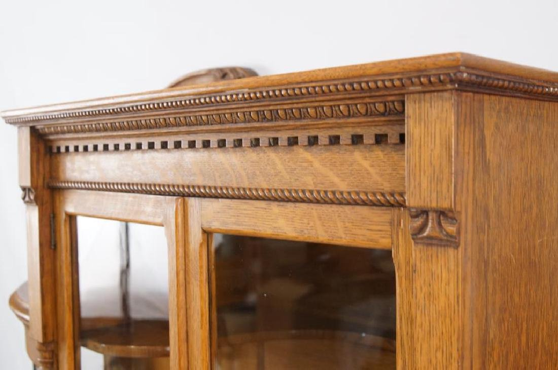 American Tiger Oak curved glass china cabinet - 3