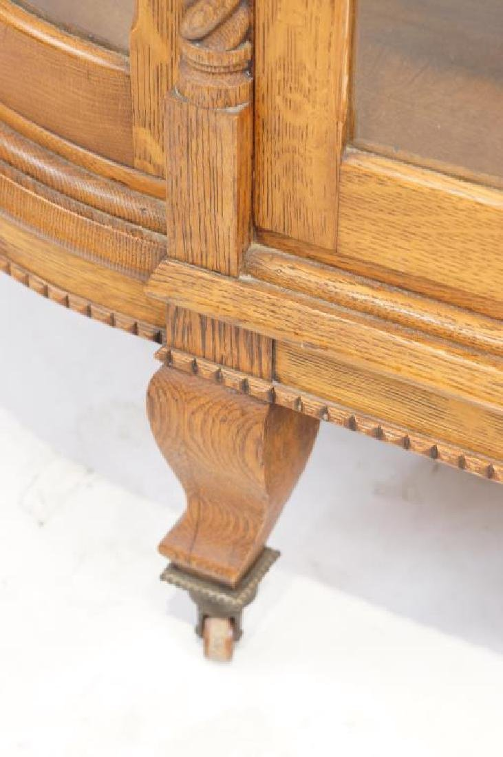 American Tiger Oak curved glass china cabinet - 5