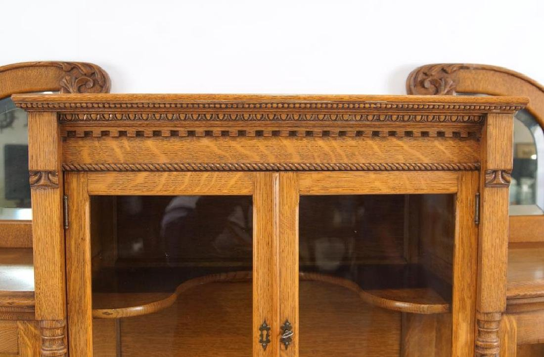 American Tiger Oak curved glass china cabinet - 7