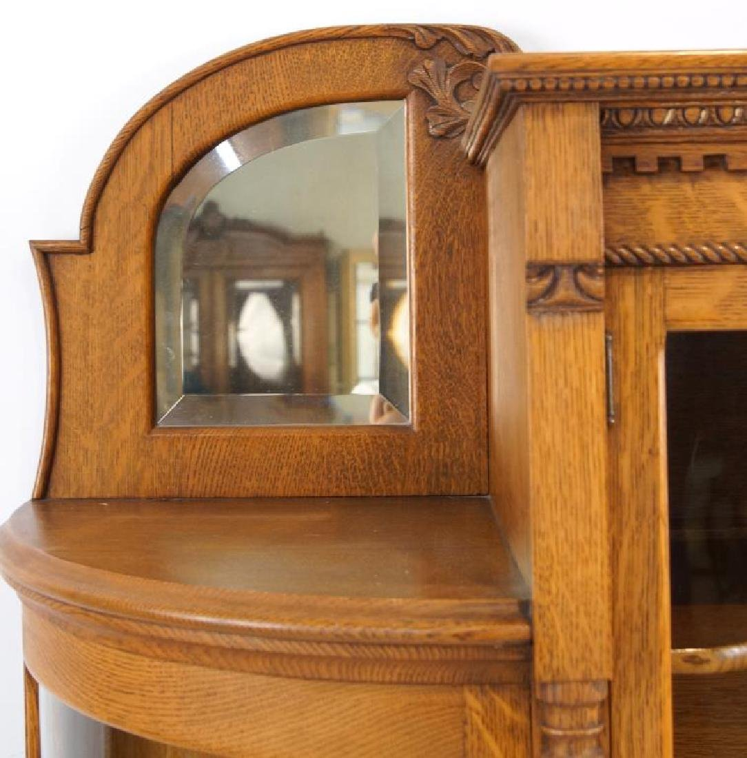 American Tiger Oak curved glass china cabinet - 8