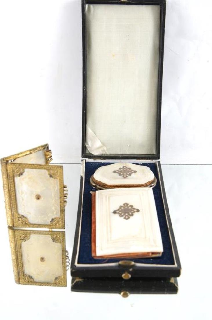 Mother of pearl dance card books & coin purse
