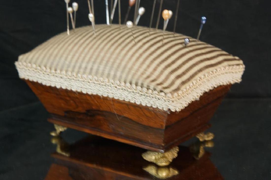 19th cent. rosewood pin cushion w 21 hair - 2