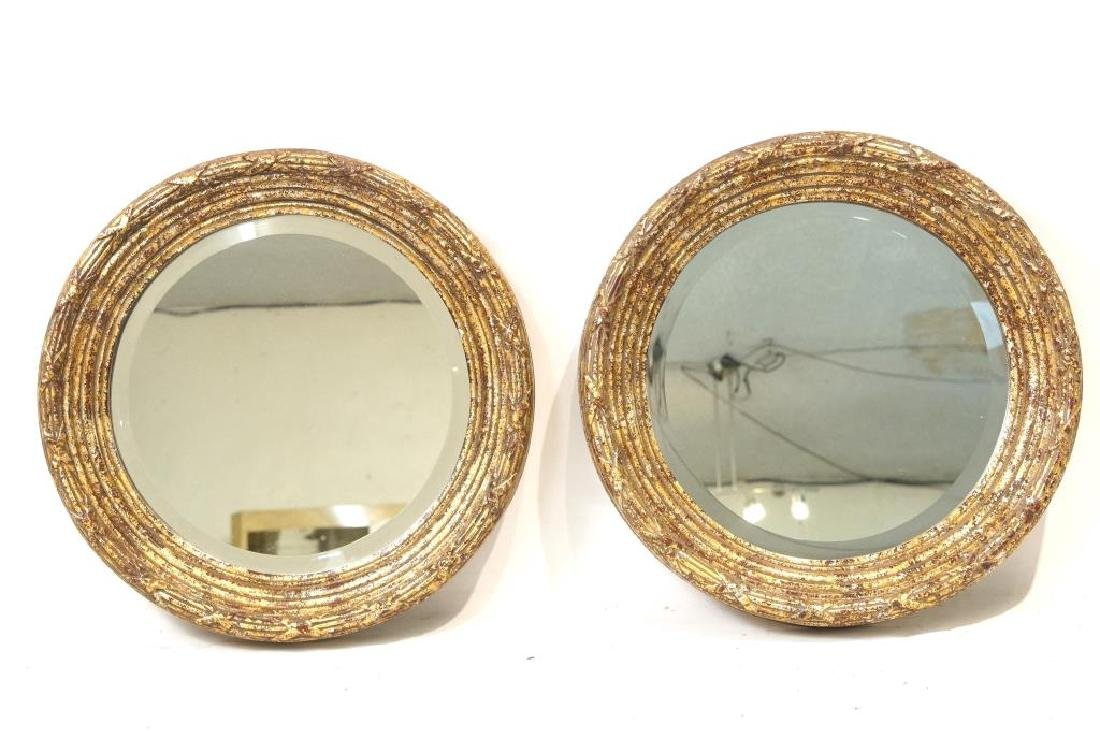 French Style round Gold/Silver Leaf mirrors