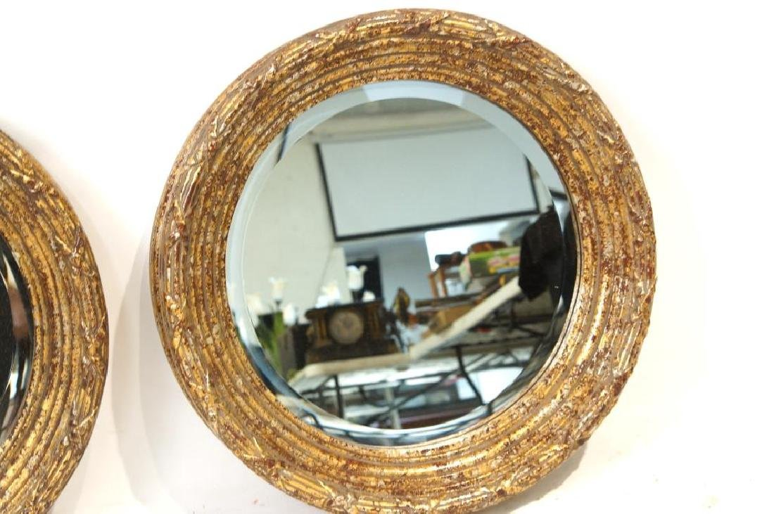 French Style round Gold/Silver Leaf mirrors - 4