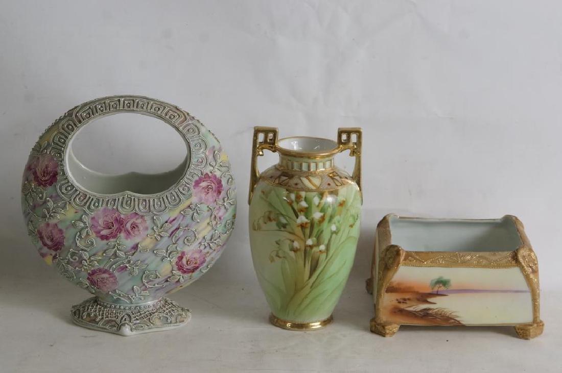 Nippon vases & porcelain box