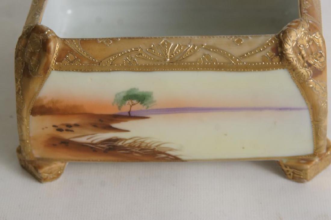 Nippon vases & porcelain box - 2