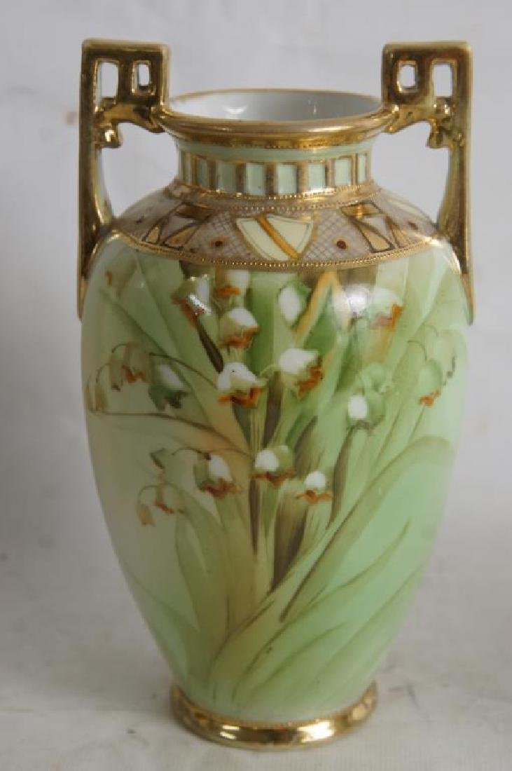 Nippon vases & porcelain box - 4
