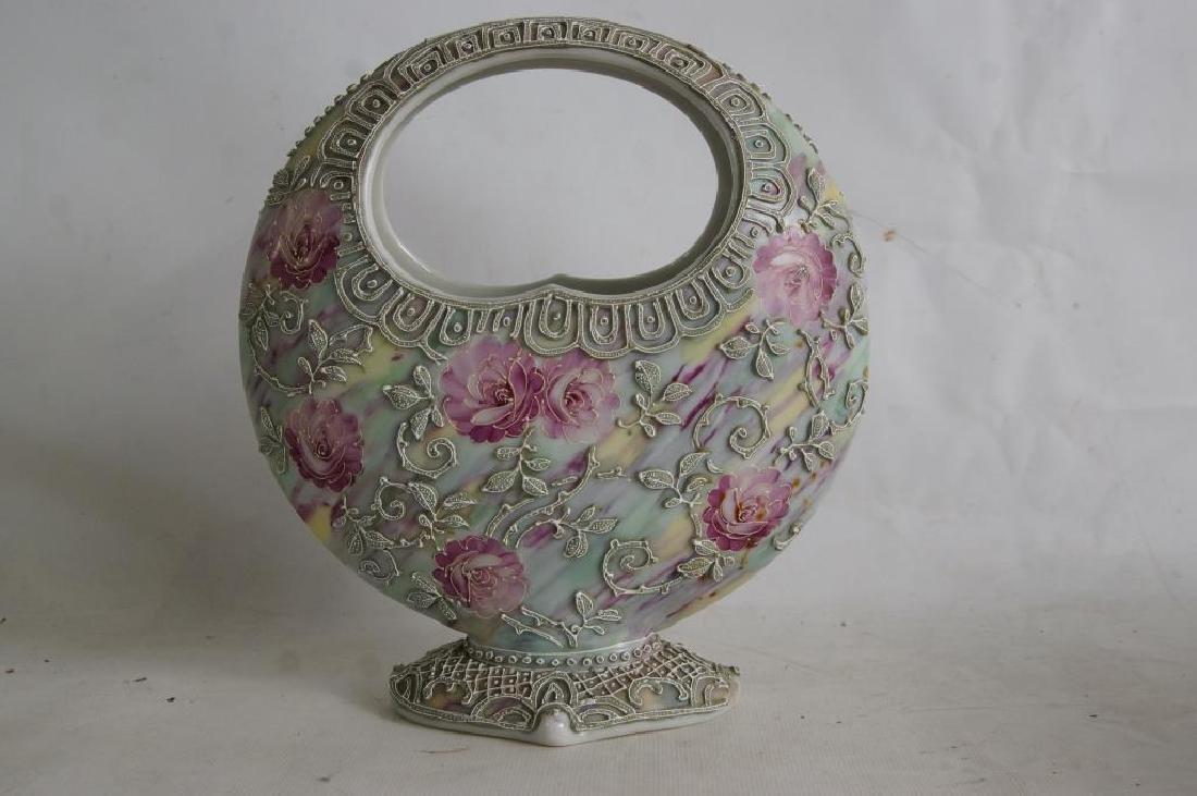 Nippon vases & porcelain box - 6