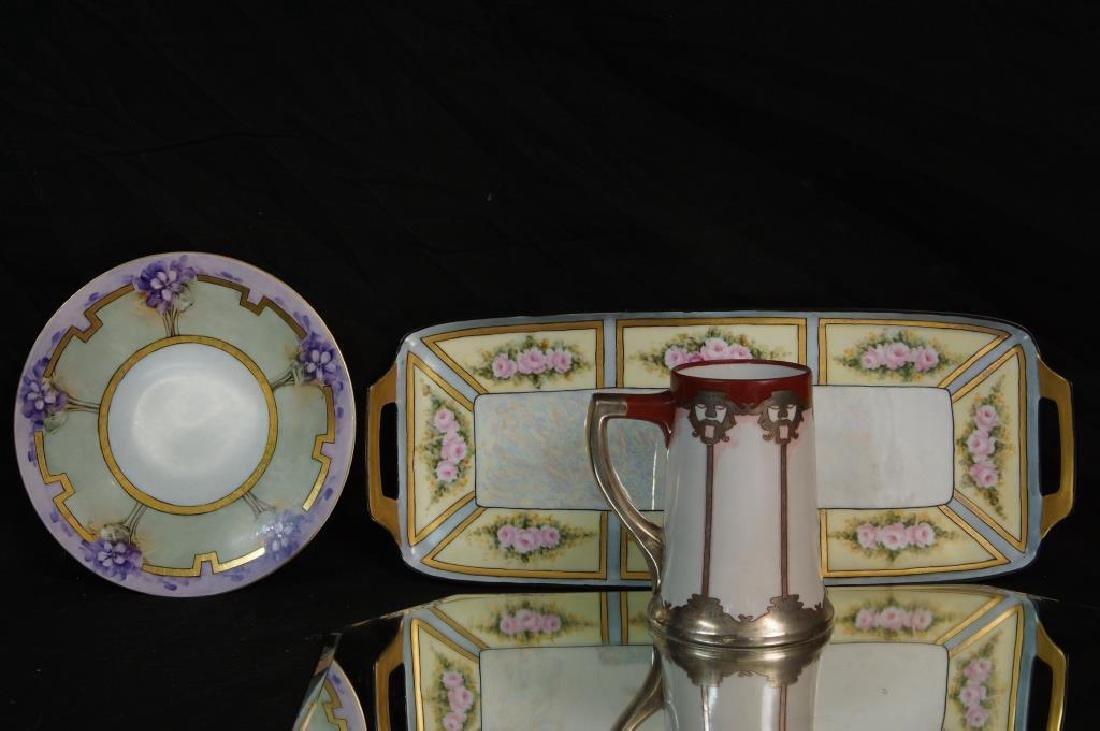 Art Nouveau plate, tray, & mug