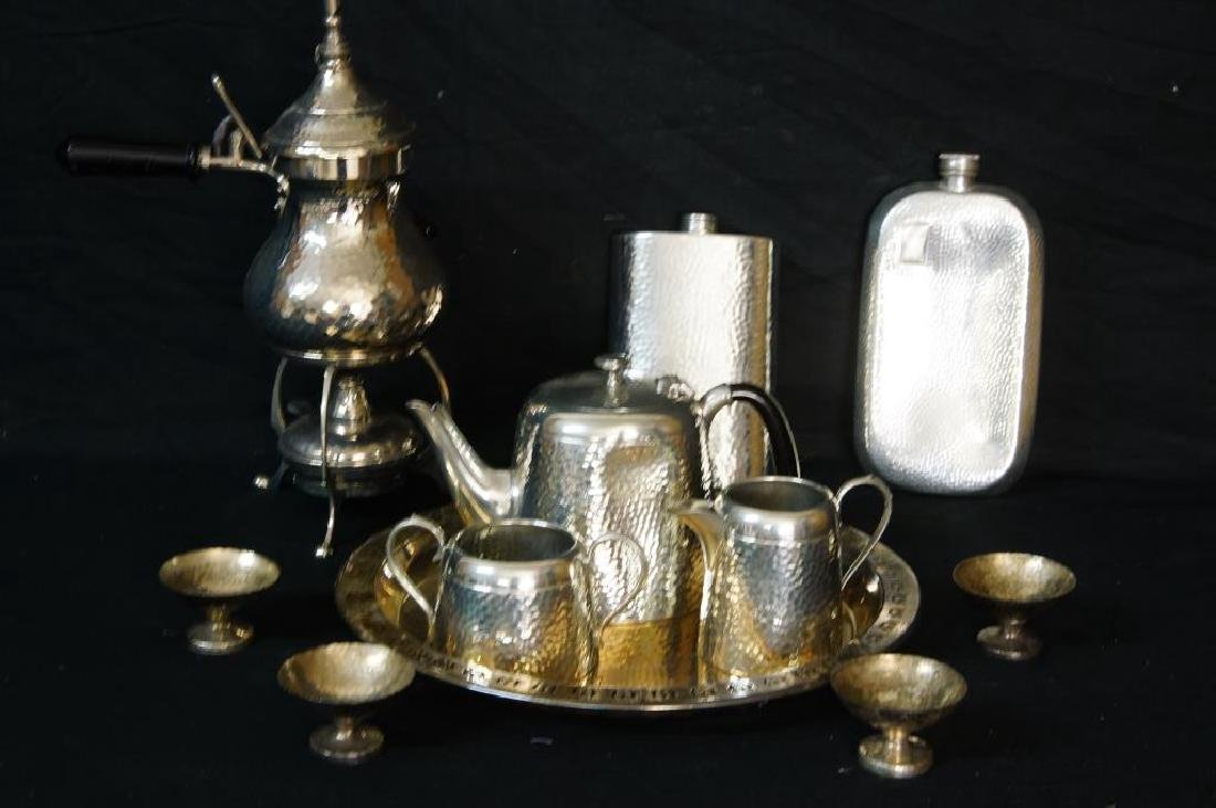 Hammered English pewter tea set and flasks