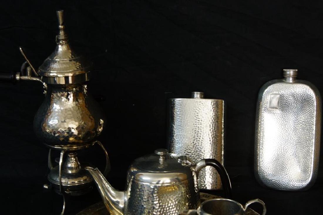 Hammered English pewter tea set and flasks - 2