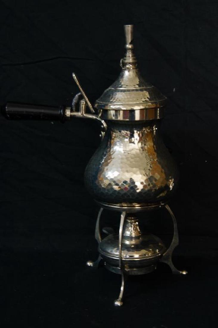 Hammered English pewter tea set and flasks - 5