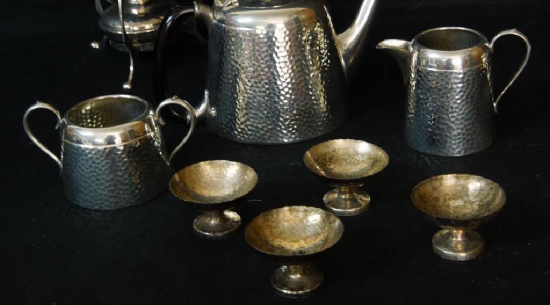 Hammered English pewter tea set and flasks - 7