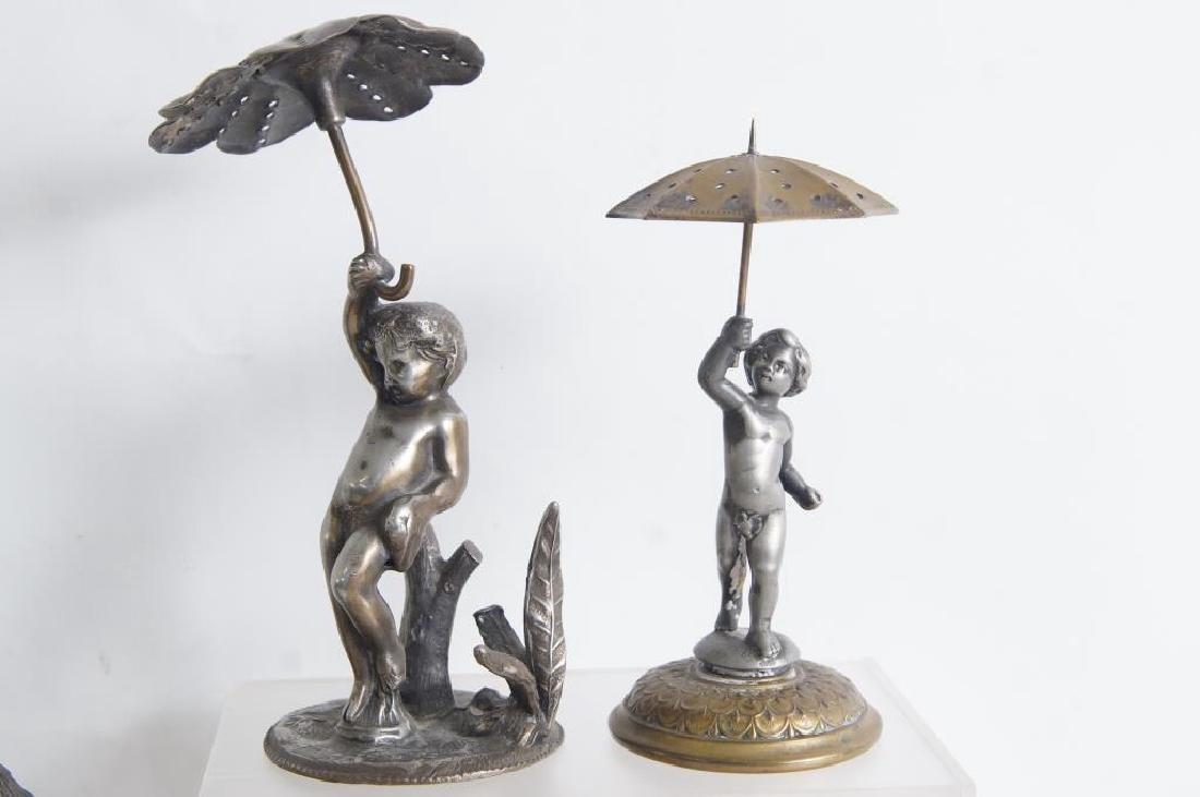 2 Cherubs w umbrella, Dog w hat & Dog w bird - 2