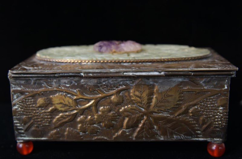 Fine Chinese bronze, amethyst & Jade jewelry box