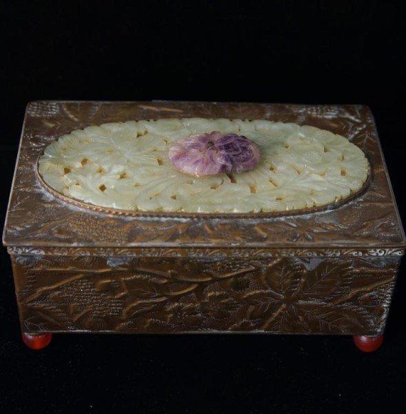 Fine Chinese bronze, amethyst & Jade jewelry box - 3