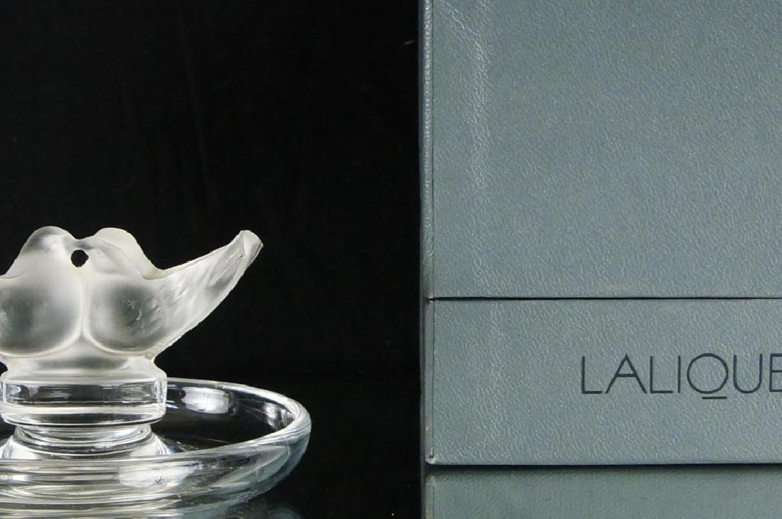 Lalique crystal ring dish with kissing birds