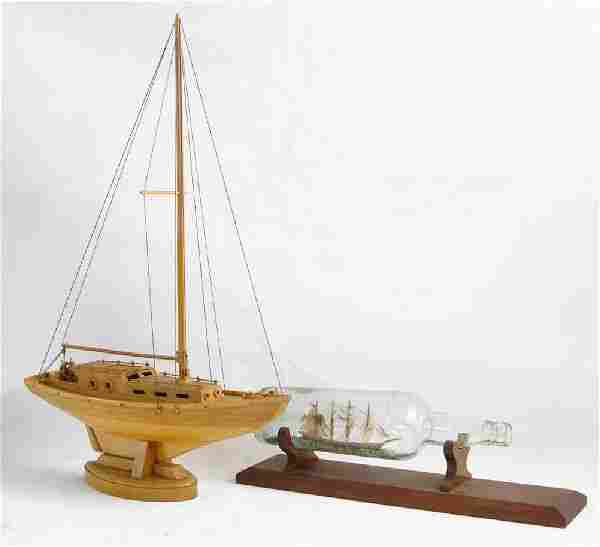 Wood Crafted Model Sailing Boat + Ship in a bottle