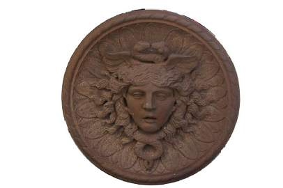Historic Architectural Cast Iron Rondel of Hermes