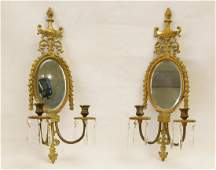 Pair French brass wall sconces with urns
