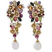 18kt Gold multi gem diamond  pearl Earrings