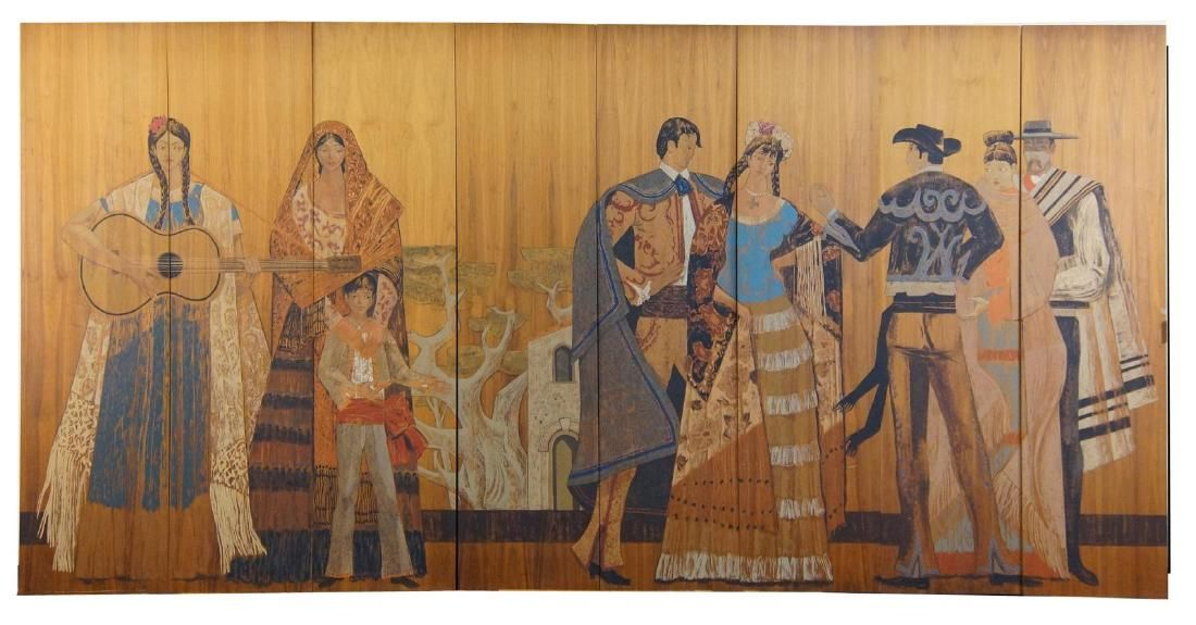 "Millard Sheets Mural on wood panels ""Fiesta"" 1962"