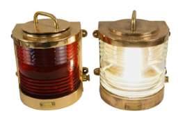Pair of Vintage Perkos Brass ships lights