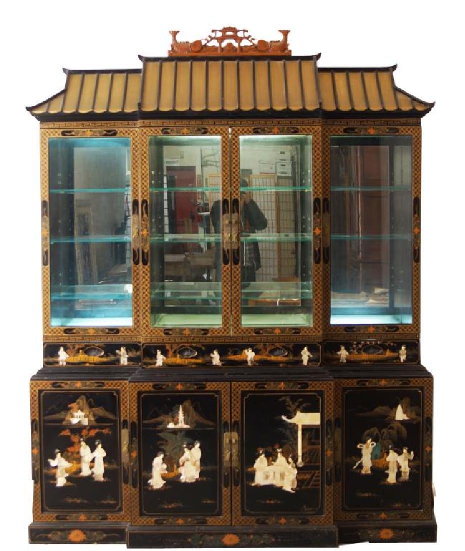 Outstanding Oriental Black lacquer hutch cabinet