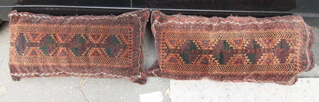 Pair Beluch bags - matching  19th cen. browns reds blue - 5
