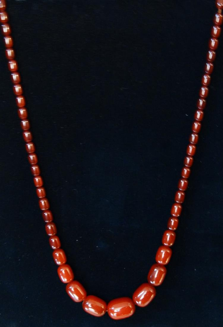 Chinese Carnelian beaded and graduated necklace